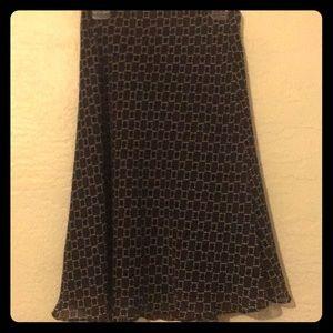 Brown & black geometric pattern skirt
